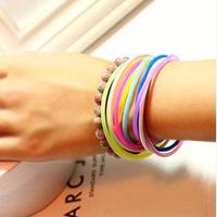 Jang Keun Suk Han ulzzang Hongying Qi fluorescent color luminous silicone rubber bracelet hand ring hair rope hair ring jelly co