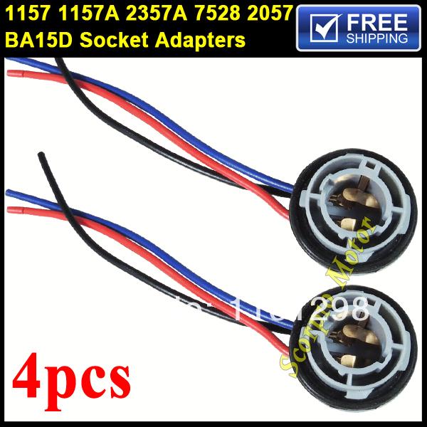 4pcs 1157 2057 2357 7528 1157A BA15D 2357A 2397 BA15D LED Bulb Backup Light Turn Signal Light Socket Harness Plug Adapter Base(China (Mainland))