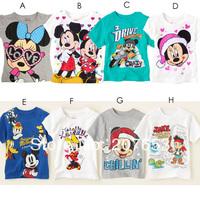 2014 NEW Free shipping 10pcs/lot children short sleeve cartoon  t-shirt  children 100%cotton mickey t-shirt kids mickey clothes