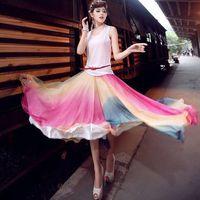 2014 women's chiffon gradient long design two ways ruffle bottom expansion 7 bust skirt