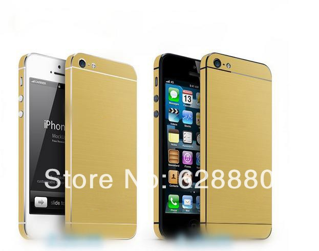 Champagne Gold Skins Golden Stickers for Iphone 5 5s 5G Cell phone Full Body phone protector(China (Mainland))