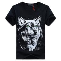 2014 new Men's 3D T shirt Wolf Print Shirt Short Sleeve Brand Tops M~4XL Big Size Cotton Tees  men's summer t-shirt