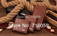 Free Shipping 2014 New Arrivel Men's Crocodile PU Leather Wallets Money Clip Coffee Men Clutch Long Leather Bag