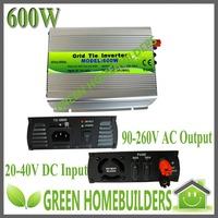 22-40V DC input 90-260V AC output pure sine wave  MPPT function 600W Grid Tie Inverter