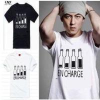 2014 brand new Korean summer men's fashion cotton short-sleeve T-shirt o-neck lucky bottle print men's t shirt mens tops&tees