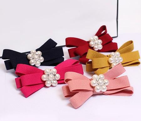 Free shipping,6284 bow bead hairpin side clamping(China (Mainland))