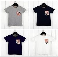 Hot Sale Children Kids Clothing Tees Children's T-shirt pocket plaid short-sleeved T-shirt boys summer baby t shirt