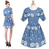 2014 New Fashion Summer Women's Embroidery Cute vintage denim dress Short Sleeve Lace Dresses For Women Free Shipping