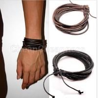 2014 New Brand 2pcs PU Leather Bracelet For Men Braided Rope Men Bracelet  Fashion Jewelry