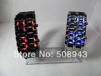Fashion Men Women Lava Iron Samurai Metal LED Faceless Bracelet Watch Wristwatch Stainless Steel Novelty Item 1pcs free shipping