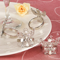 4pcs Free Shipping 4*4.4cm Silver Angel Table Napkin Buckle For Married Supplies Safest Package with Reasonable Price