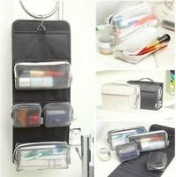 Nylon+PE Material Travel Folding Makeup Organizer Men and Women Toiletry Outdoor Hanging Wash Bag
