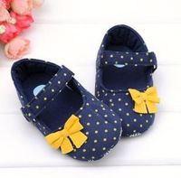 original brand fashion summer infant toddler new born baby girl first walkers dot blue princess soft sole 11-12-13cm 0-18mF010