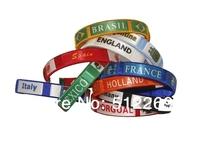 Wholesale 2014 Brazil World Cup Souvenir Flexible Embroider Thread Bracelet Wristband DHL Shipping