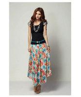New 2014 summer women's large plus size XL,XXL XXXL 4XL 5XL White Black Mid-calf Floral printed Bohemian long dress with belt