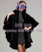 BGAV-2626 Genuine Knitted Mink Fur Big Cape Wrap OEM Wholesale Retail New 2014 Real Knit Shawl
