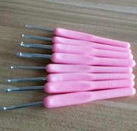 8 sizes 14cm Pink Soft ABS Handle Aluminum Knitting Crochet Hooks 2.5-6mm