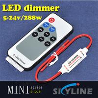 Mini Shape DC5V DC12V DC24V 12A Single Color LED Strip Dimmer Controller with Card Type Remote + Red & Black Connect Line