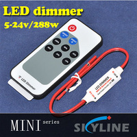 mini led dimmer with RF remote controller ,64 class color change ,red & black wire connections ,DC5-24v support