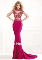 Free Shipping Backless Cap Sleeve Hot Pink Spandex Crystal Long Tarik ediz Sheath Prom dress vestido de festa 2014 Prom Dresses