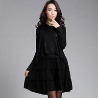 Free shipping 2014 spring big size one-piece dress big size clothing elegant slim thin one-piece dress  XXXL