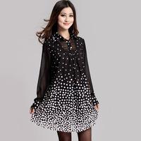 Free shipping Spring big size one-piece dress 2014 women's slim thin fashion dot one-piece dress  XXXL