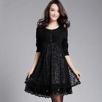 Free shipping 2014 spring women's big size one-piece dress big size clothing fashion lace elegant dress  XXXL