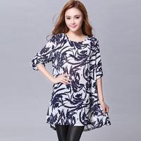 Free shipping 2014 big size clothing spring and summer  loose slim print big size one-piece dress yr618  XXXL