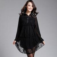 Free shipping Spring big size clothing loose elegant lace basic shirt  big size one-piece dress  XXXL