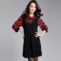Free shipping 2014 spring slim thin fashion heap turtleneck wrist-length sleeve fashion vest one-piece dress  XXXL