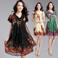Free shipping 2014 big size clothing summer  big size big size chiffon one-piece dress ay43  XXXL
