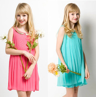 1pc new 2014 Summer Girls Pleated Chiffon Dress With Paillette Collar Girl princess casual dress Children clothing For Kids Baby