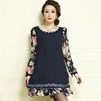 Free shipping 2014 spring new arrival one-piece dress  loose slim fashion patchwork print big size clothing yx516  XXXL