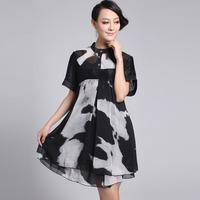 Free shipping 2013 summer big size clothing faux silk slim waist  big size one-piece dress yz226  XXXL