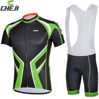 Popular Design 2014 Cheji Cycling short sleeve jersey bib shorts set High Performance Fabric Bike Wear