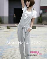 Free Shipping 2014 New Fashion ol Rompers For Women Cotton Plus Size XXXL 6XL Bib Pants Jumpsuit Halterneck Black And Grey Pants