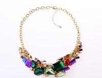 Colorful Gemstone Necklace Acrylic colored created gemstones geometric Necklace Free Shipping