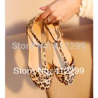 Leopard Print Flat Heel Women's Sandals 2014 Summer Women Summer Shoes 2014 Summer Shoes Fashion Sandals Sweet