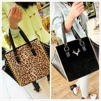 2014 leopard print horsehair women's handbag punk rivet deer big bag messenger bag