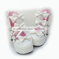 PU Leather 7.5cm High Heel Sweet Lolita Shoes with Bow  as  Halloween Cosplay Shoes