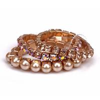 Fashion elastic fashion bracelet accessories gold all-match multi-layer gem pearl bracelet female
