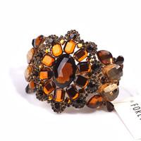 Fashion luxury ultra wide metal khaki full rhinestone gem elastic bracelet female