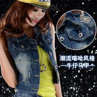 high street denim vests supernova sale autumn - summer denim vest new 2014 blue jean jackets women clothing coats for woman