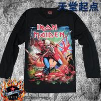 Black Men long-sleeve T-shirt 100% cotton band iron maiden
