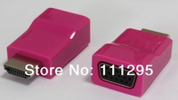 free shipping HDMI to VGA adapter support 1080p red color