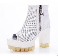 Open toe shoe female sandals 2014 gauze women's shoes thick heel high-heeled shoes