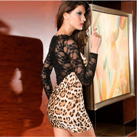 European Style Fashion 2014 Women Sexy Patchwork Lace Sleeve Leopard Evening Party Dress,Summer Women's Colthing