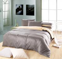 Classic Pure color Plain Mixed colors 100%cotton  Bedding Set/ Duvet Cover Bedding Sheet Bedspread  Silver gray &Cream-colored