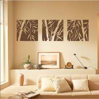 Set of 3 Canva Effect Bamboo Wall Art Vinyl Sticker Decal Fashionable Decoration