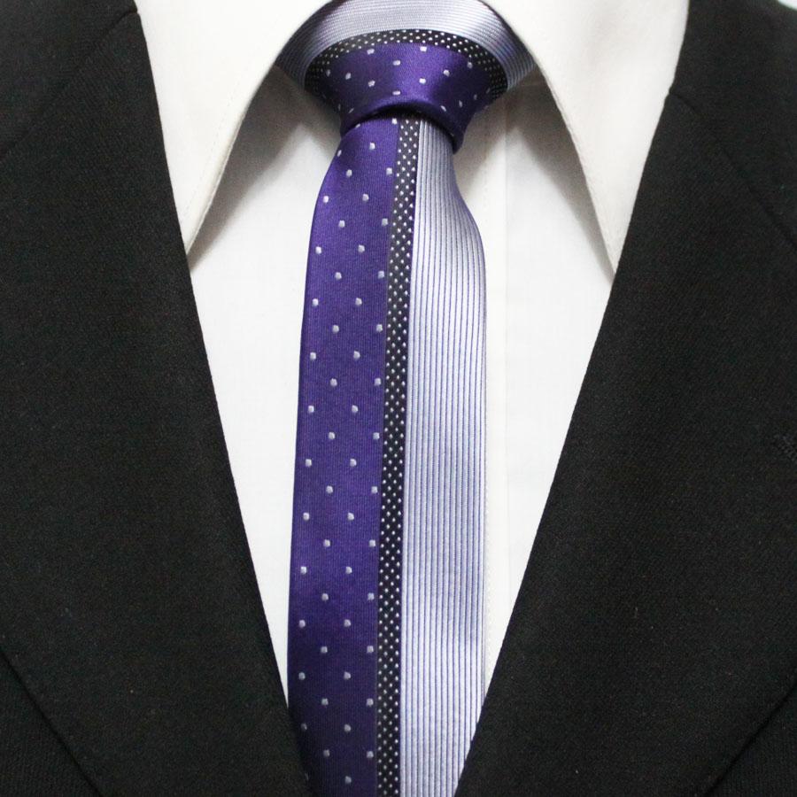 Mens Dots Patchwork Neckties For Men Purple With Lavender Slim Original Leisure Striped Ties For Man Gravatas 5CM F5-J-12(China (Mainland))
